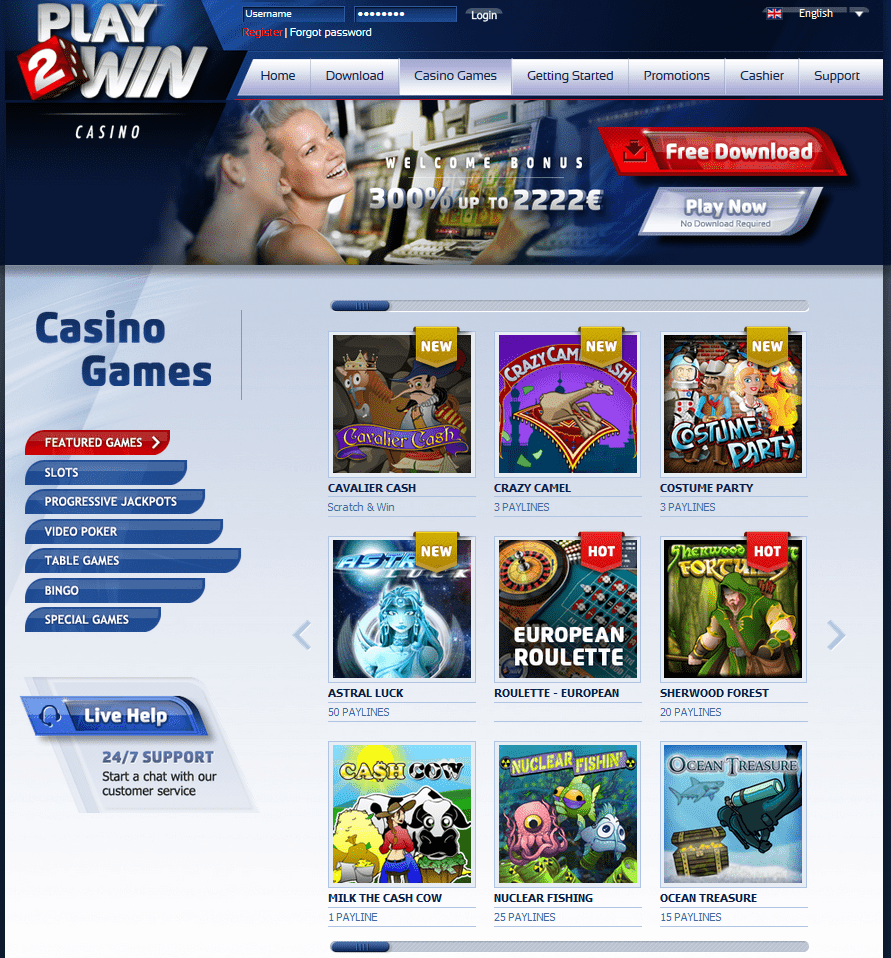 play 2 win casino