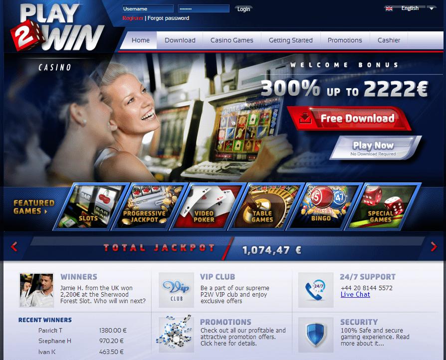 Play2WIn Casino Lobby