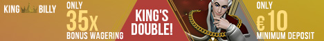 King Billy Casino €1000 plus 200 FREE Spins Welcome Package
