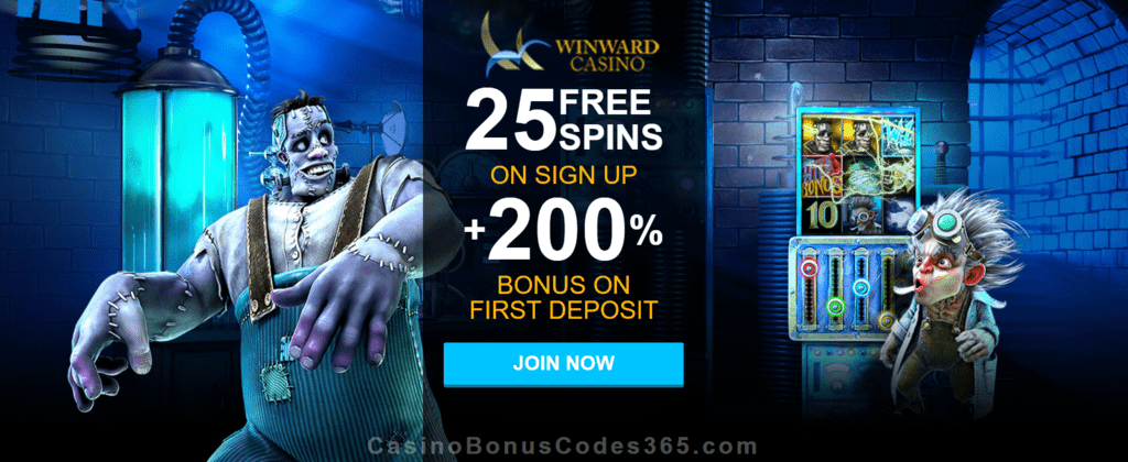 Winward Casino 25 FREE Spins plus 200% Match Welcome Deal
