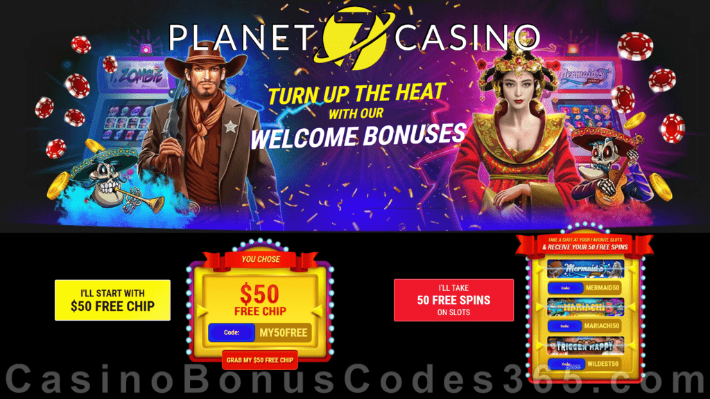Planet 7 Casino Your Welcome Bonus Your Choice $50 FREE Chip or 50 FREE Spins RTG Mermaid's Pearls The Mariachi 5 Trigger Happy