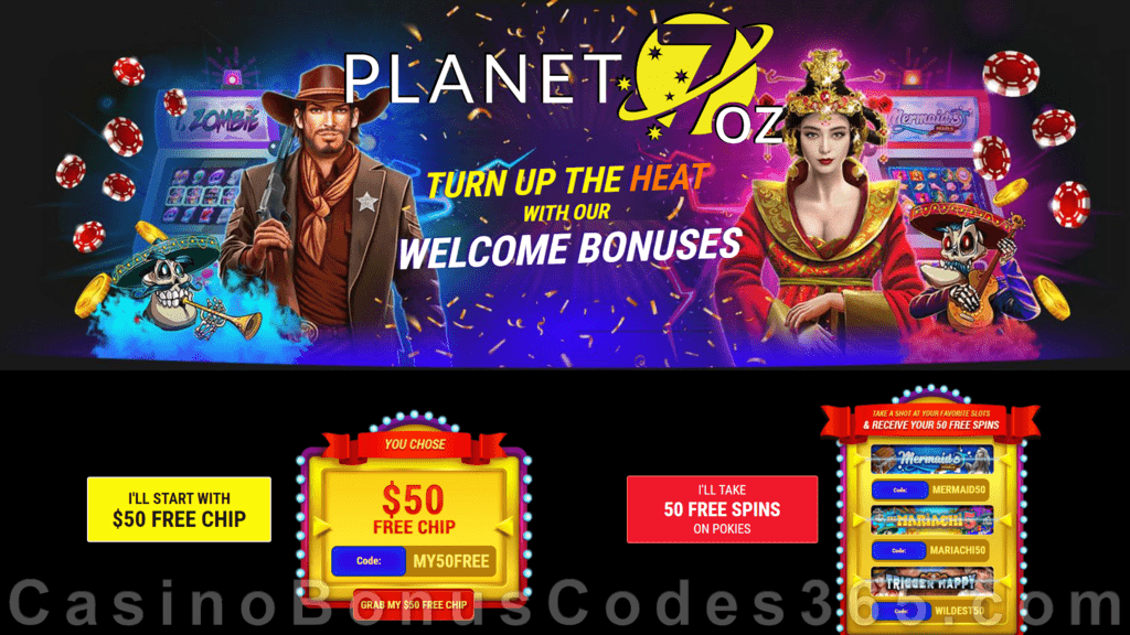 Planet 7 OZ Casino Welcome Bonus of Your Choice $50 FREE Chip or 50 FREE Spins RTG Mermaid's Pearl The Mariachi 5 Trigger Happy