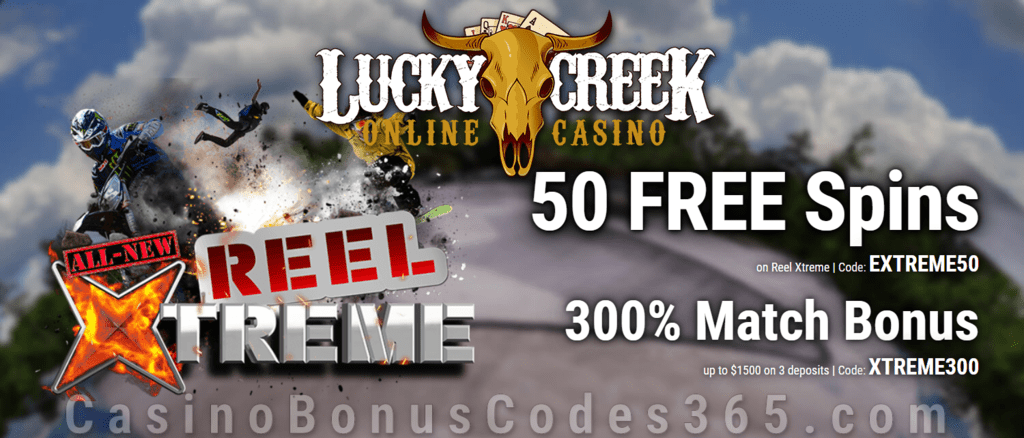 Lucky Creek 50 FREE Saucify Reel Xtreme Spins plus 300% Match Bonus New Game Special Offer