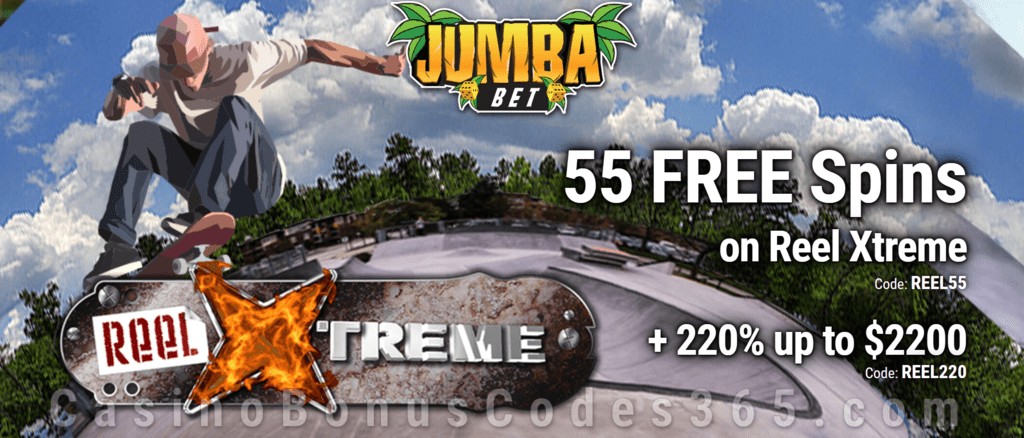 Jumba Bet 55 FREE Spins on Saucify Reel Xtreme plus 220% Match Bonus New Players Special Deal