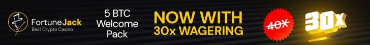 FortuneJack 5 BTC plus 250 FREE Spins Welcome Bonus with 30x Wagering Only!