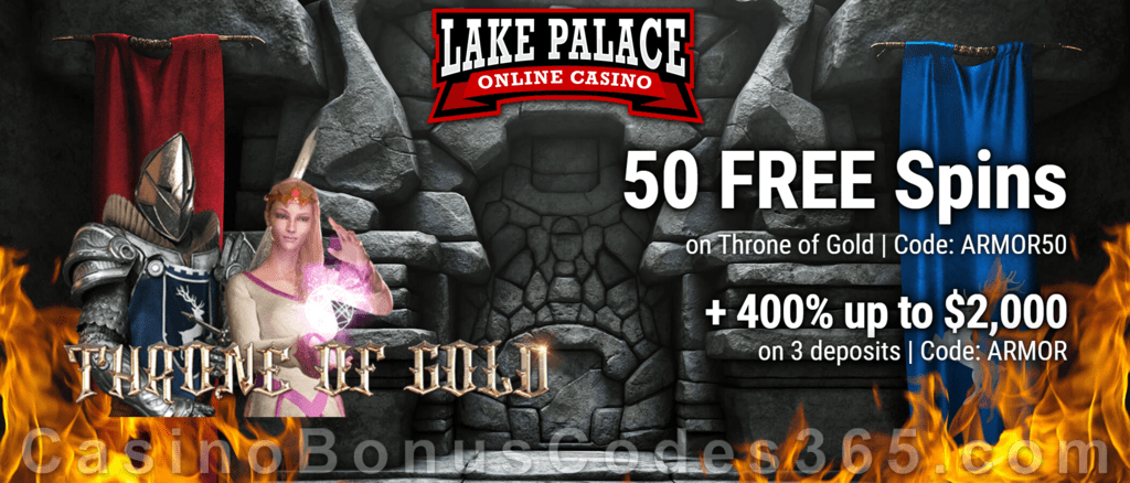 Lake Palace 50 FREE Saucify Throne of Gold Spins plus 400% Match Welcome Bonus