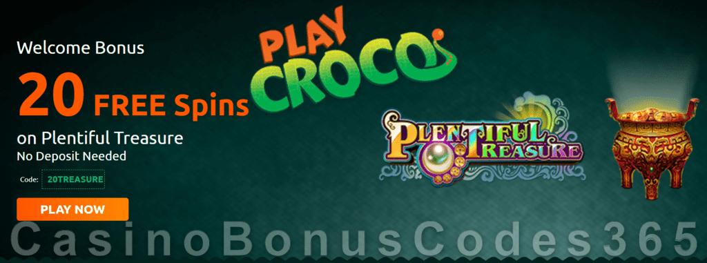 PlayCroco 20 FREE RTG Plentiful Treasure Spins No Deposit Welcome Deal