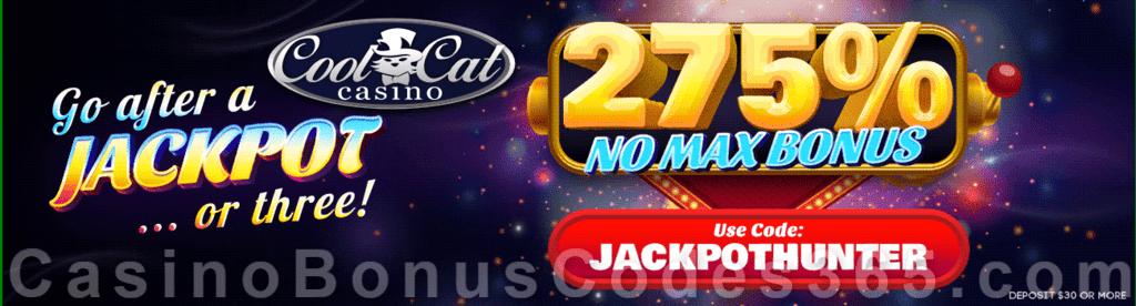 CoolCat Casino 275% No Max Bonus Jackpot Hunter Special Deposit Deal