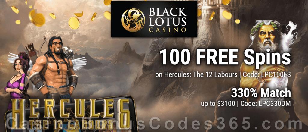 Black Lotus Casino 100 FREE Saucify Hercules: The 12 Labours Spins plus 330% Match Bonus Welcome Deal