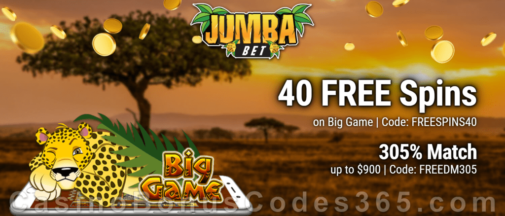 Jumba Bet 40 FREE Spins on Saucify Big Game plus 305% Match Bonus New Players Offer