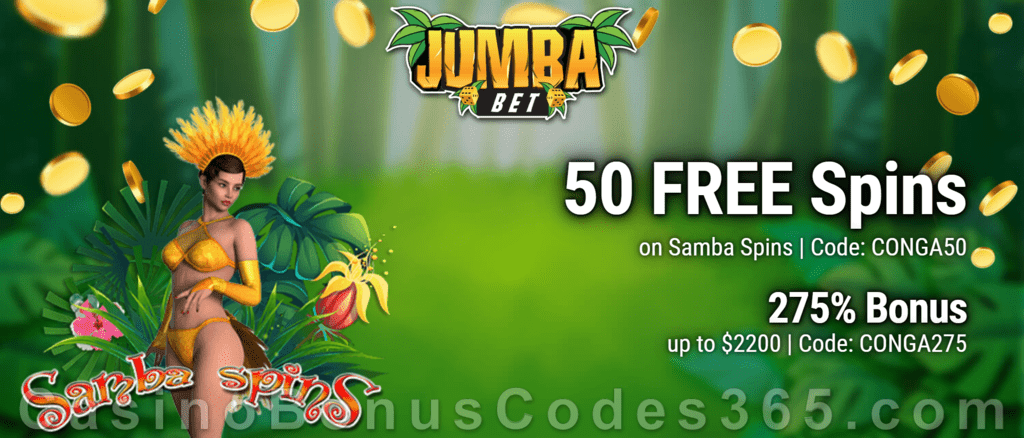 Jumba Bet 50 FREE Spins on Saucify Samba Spins plus 275% Match Bonus New Players Welcome Pack