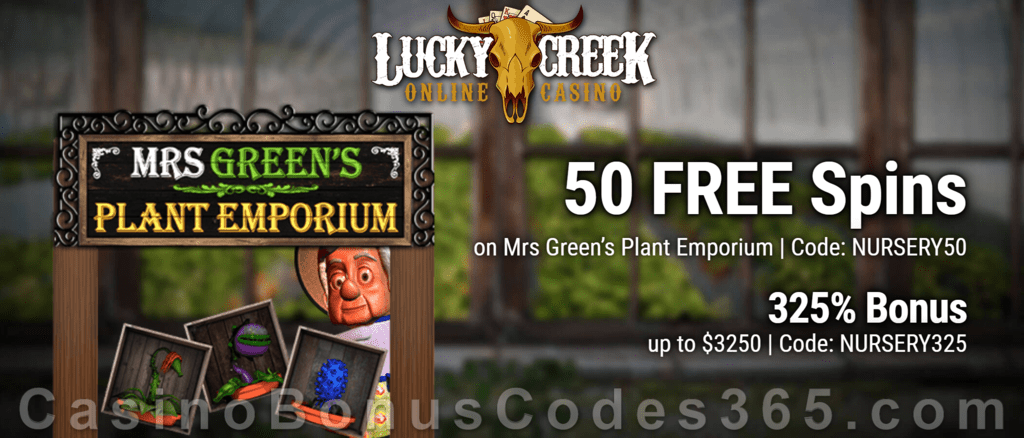 Lucky Creek 50 FREE Spins on Saucify Mrs Green's Plant Emporium plus 325% Match Bonus Special Sign Up Deal
