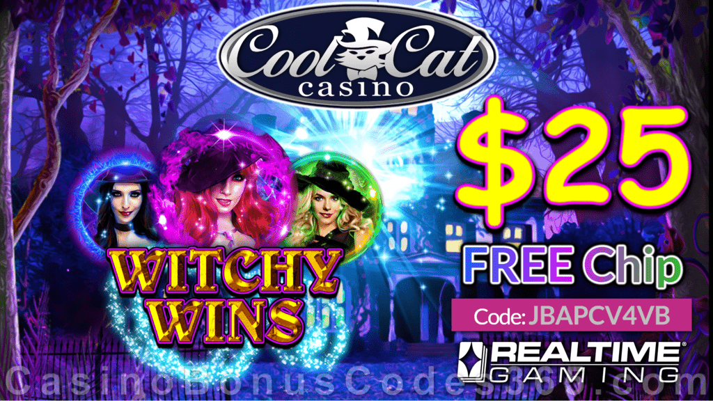 CoolCat Casino Witchy Wins Special New RTG Game No Deposit $25 FREE Chip Promotion