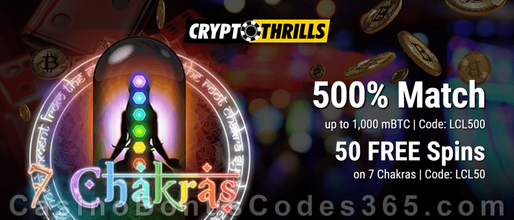 CryptoThrills Casino Live Dealer 500% Match plus 50 FREE Spins Promotion