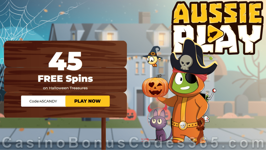AussiePlay Casino 45 FREE Spins on RTG Halloween Treasures Special New Players No Deposit Deal