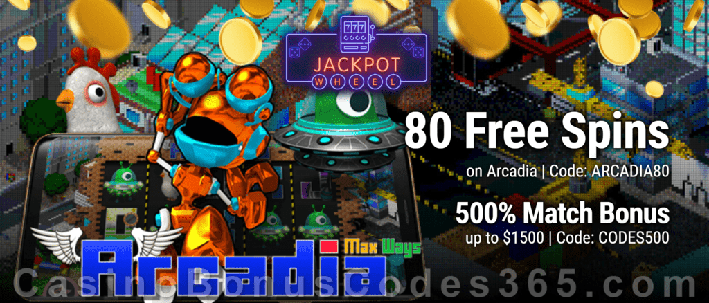Jackpot Wheel 80 FREE Spins on Saucify Arcadia plus 500% Match Welcome Bonus