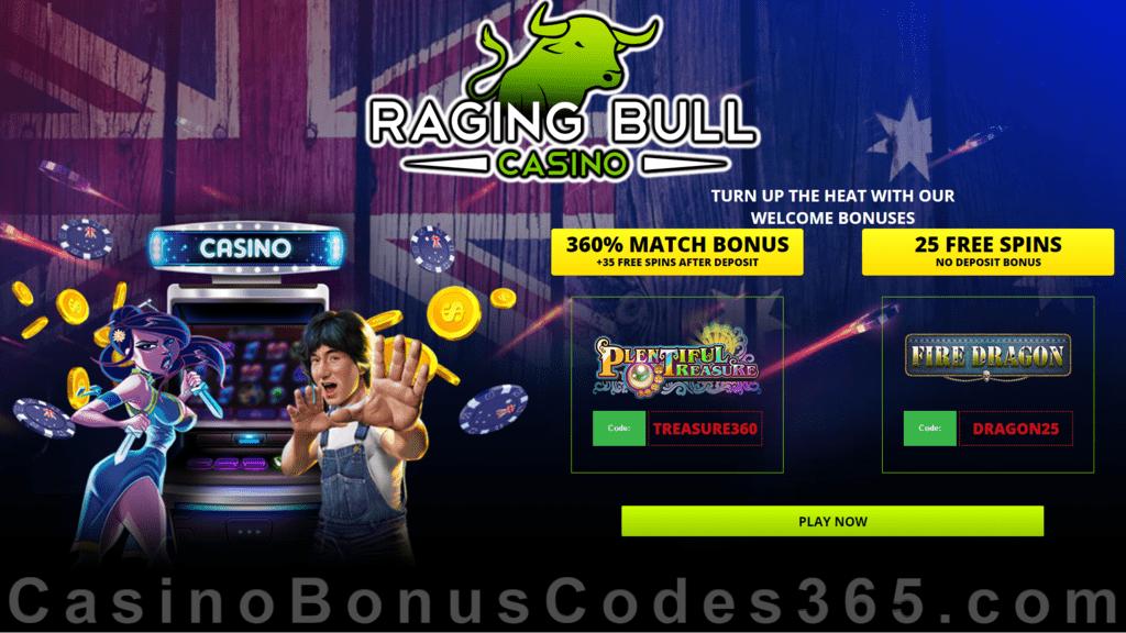 Raging Bull Casino 360% Match Bonus plus 60 FREE Spins Welcome Package RTG Plentiful Treasure Fire Dragon