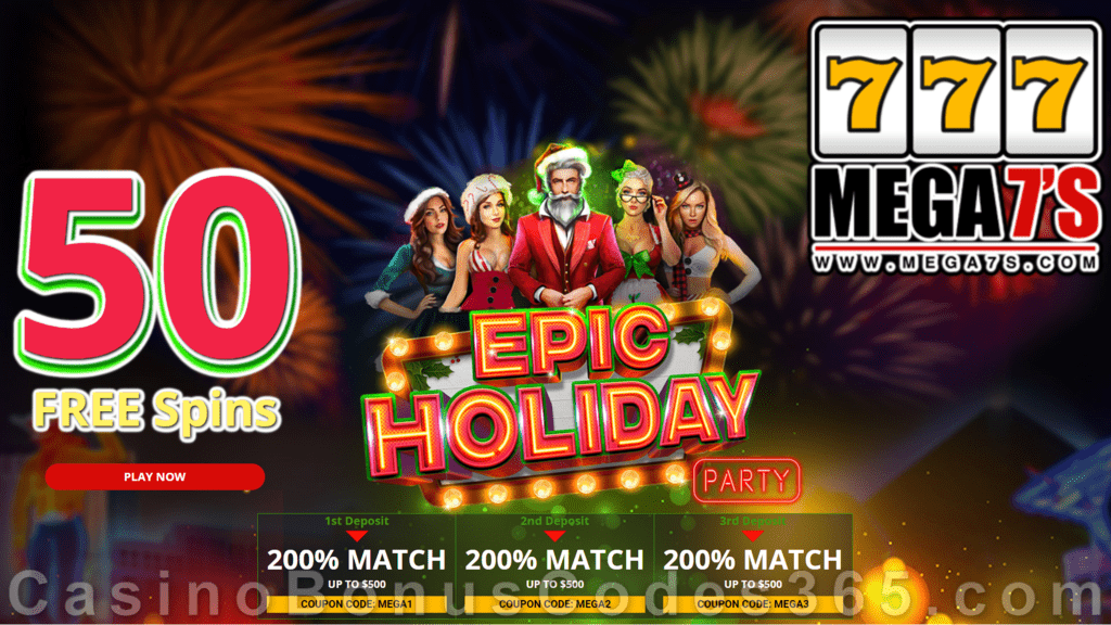 Mega7s Casino 50 FREE Spins New RTG Game Epic Holiday Party Offer