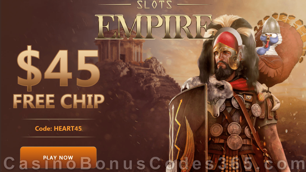 Slots Empire $45 FREE Chip Special Thanksgiving No Deposit New Players Offer