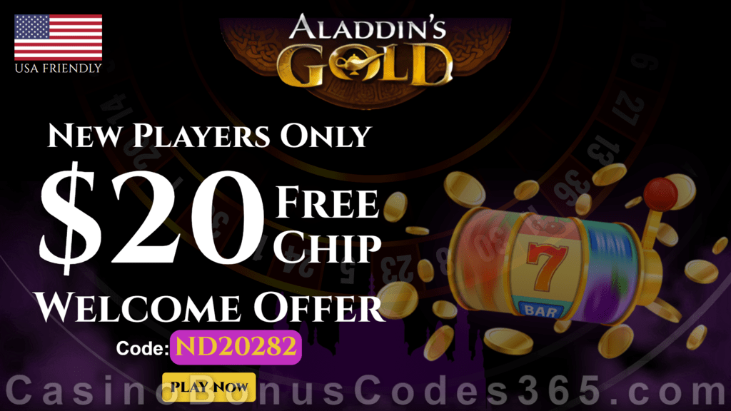 Aladdin's Gold Casino up to $95 FREE Chip No Deposit Exclusive New Players Offer