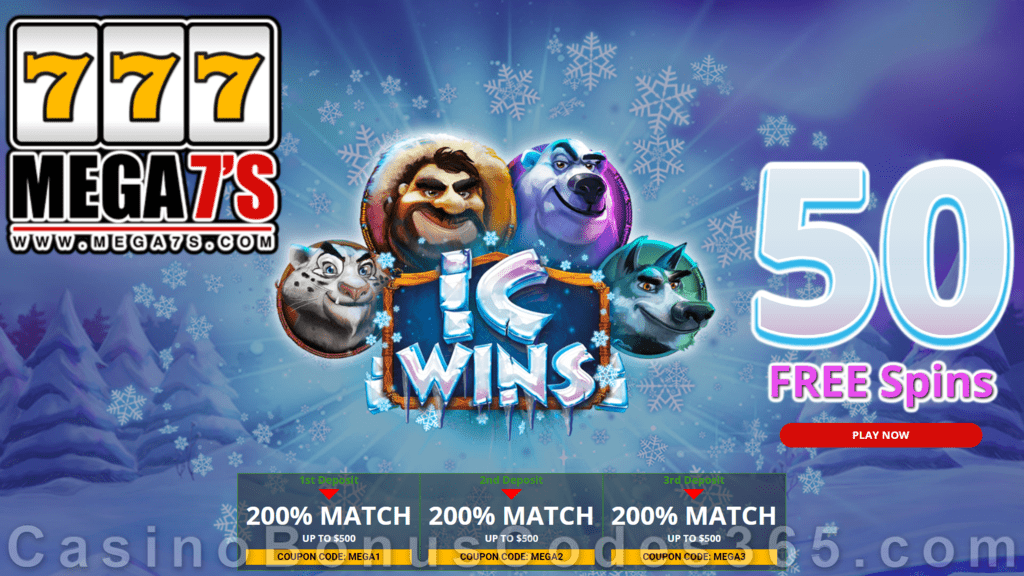 Mega7s Casino 50 FREE Spins New RTG Game IC Wins Offer