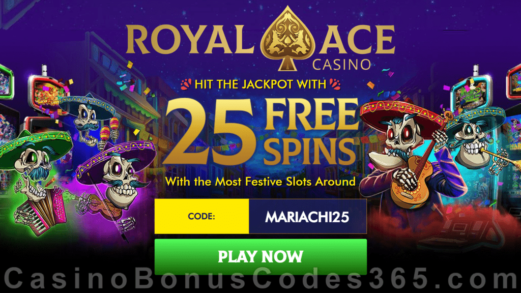 Royal Ace Casino 25 FREE Spins on RTG The Mariachi 5 No Deposit Welcome Deal