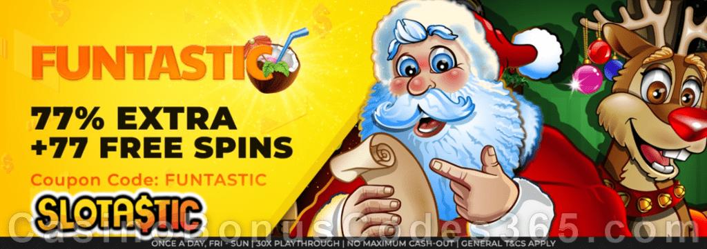 Slotastic Online Casino RTG Santastic December Fun Weekend Deal