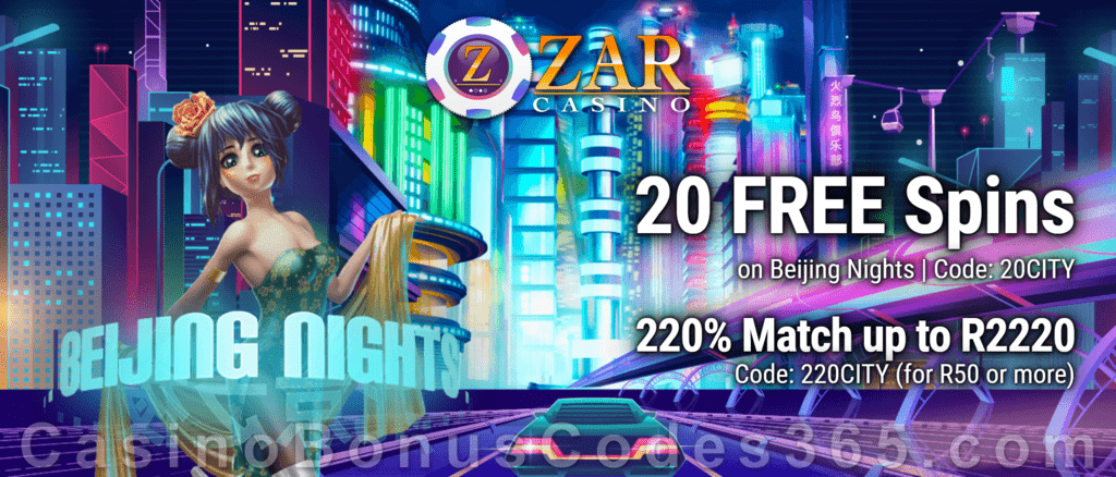 ZAR Casino 20 FREE Spins on Saucify Beijing Nights plus 220% Match Bonus New Players Promotion