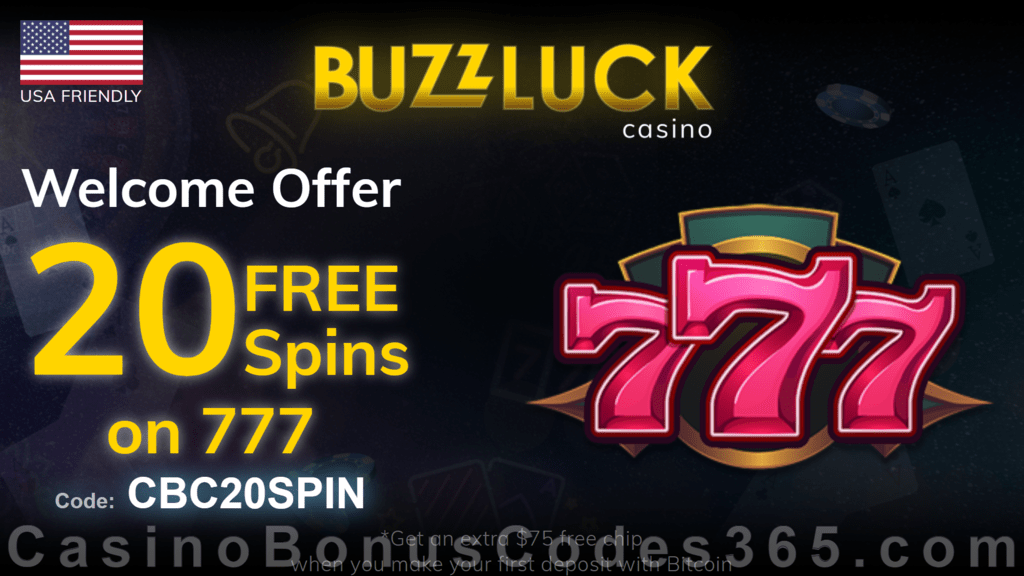 BuzzLuck Casino Exclusive 20 FREE Spins on RTG 777 No Deposit Sign Up Offer