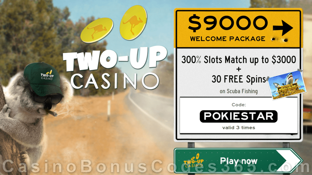 Two-up Casino 300% Match plus 30 FREE RTG Scuba Fishing Spins New Players Offer