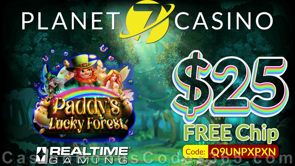 Planet 7 Casino New RTG Game Paddy's Lucky Forest $25 No Deposit FREE Chip Special Deal