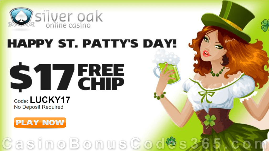 Silver Oak Casino $17 St. Patrick's Day FREE Chips Special No Deposit Deal RTG