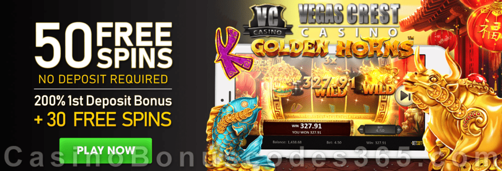 Vegas Crest Casino 50 FREE Spins on Betsoft Golden Horns and 200% Match Bonus plus 30 FREE Spins Special New Players Deal