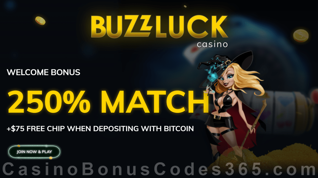 BuzzLuck Casino 250% Match Slots Bonus plus $75 FREE Chip for Bitcoin Deposit Welcome Package RTG