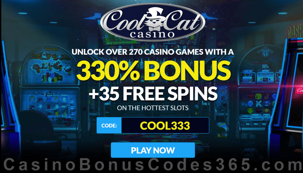 CoolCat Casino 330% No Max Bonus plus 35 FREE Spins Welcome Offer