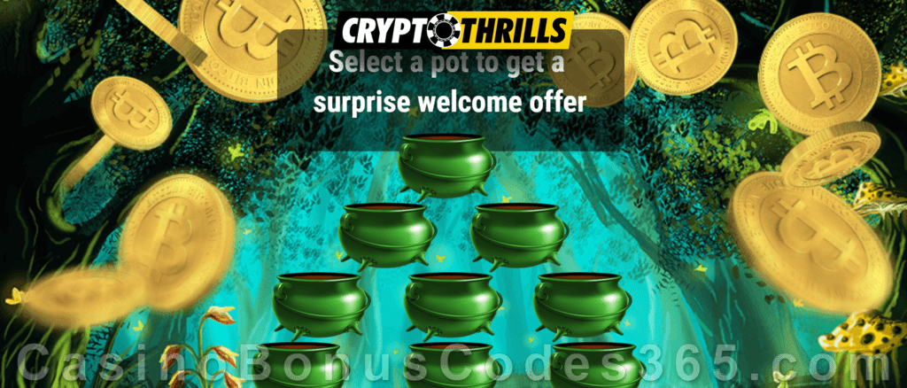 CryptoThrills Casino Choose your Pot of Gold St. Patrick's Day Bonuses Game