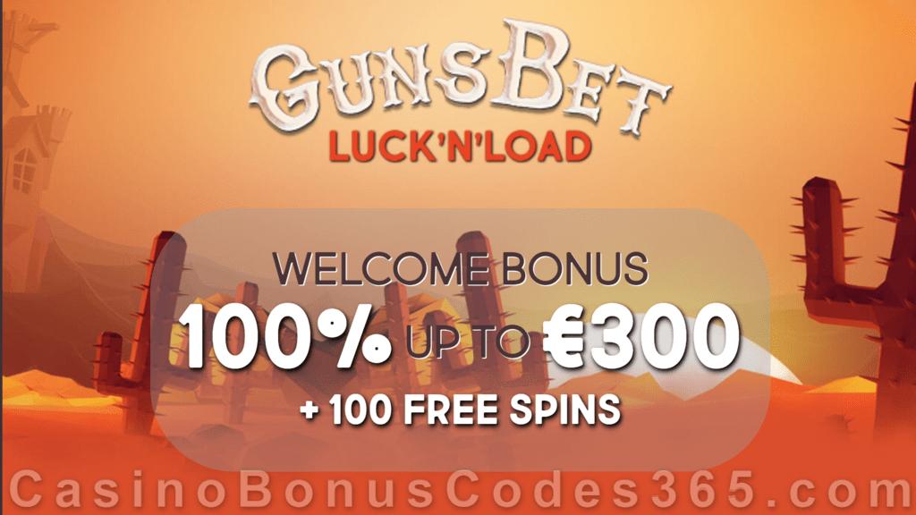GunsBet Welcome Package €300 Bonus plus 100 FREE Spins
