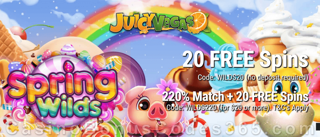 Juicy Vegas 20 FREE Spring Wilds Spins plus 220% Match with 10 FREE Spins on top New RTG Game Special Welcome Offer