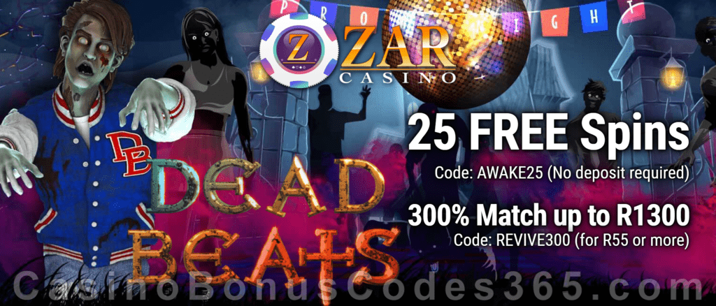 ZAR Casino 25 FREE Spins on Saucify Dead Beats plus 300% + 10 FREE Spins on Dead Beats Match Bonus New Players Promotion