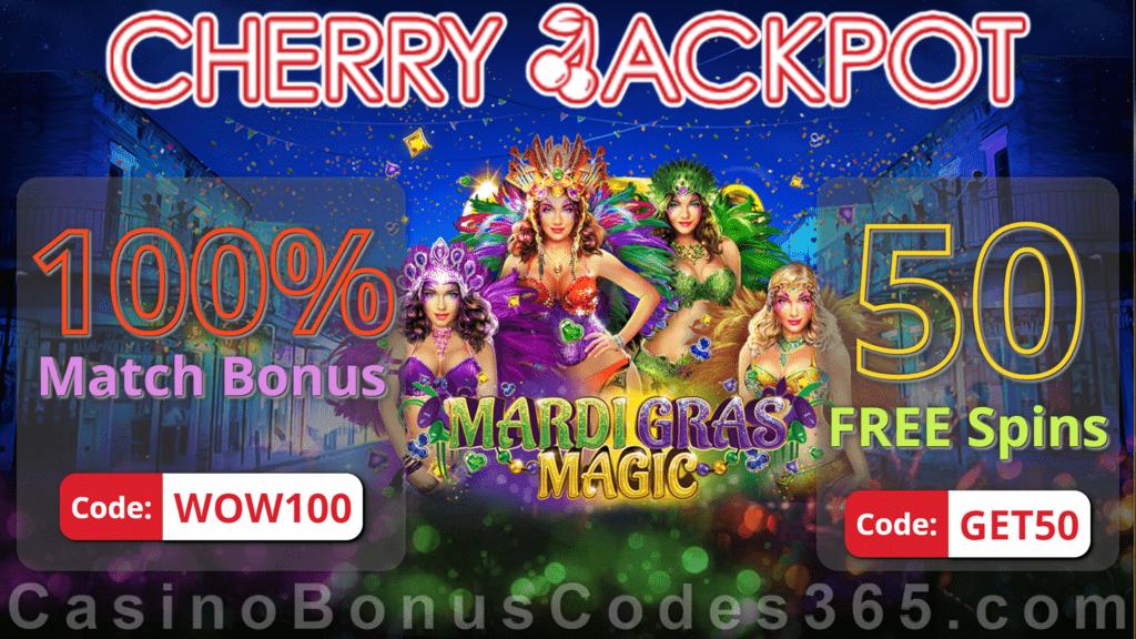Cherry Jackpot 100% Match Bonus plus 50 FREE RTG Mardi Gras Magic Spins Special Easter Deal