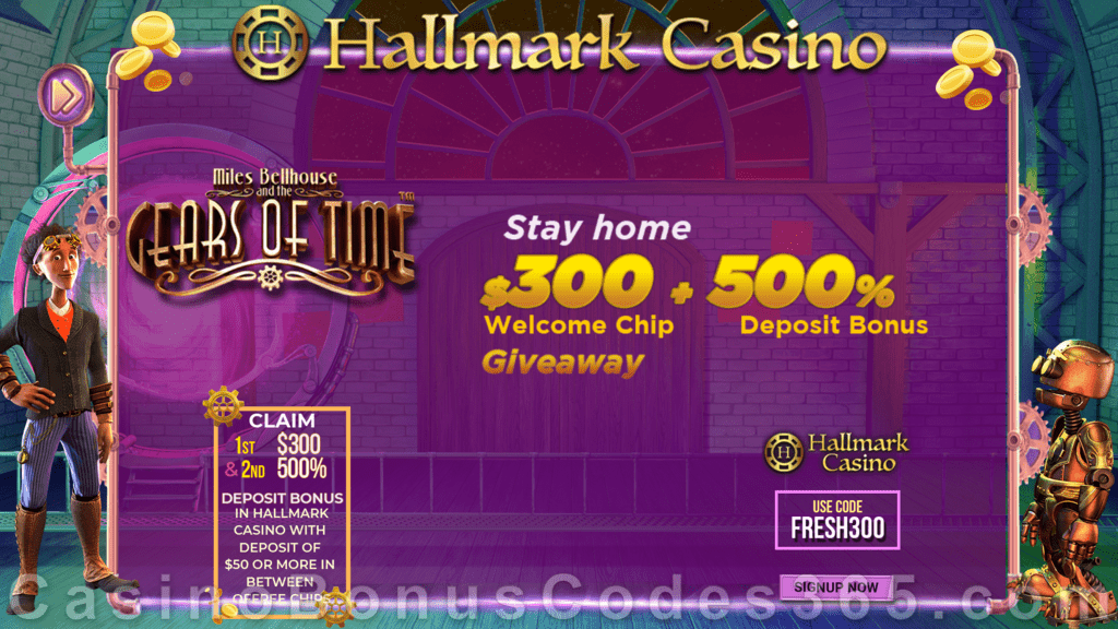 Hallmark Casino $300 No Deposit FREE Chip plus 500% Match Bonus Limited Time Offer