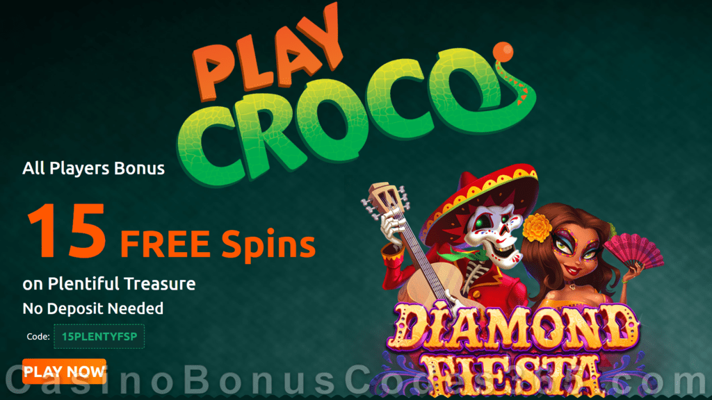PlayCroco 15 FREE Spins on RTG Diamond Fiesta No Deposit Special Offer for All Players