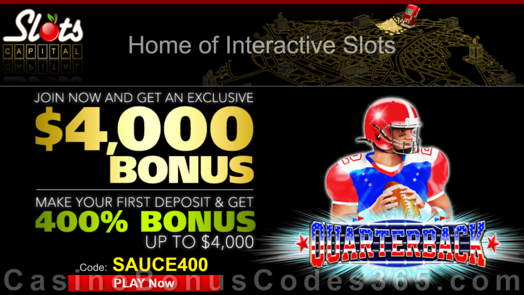 Slots Capital Online Casino 400% Match New Dragon Gaming Quarterback Special Bonus
