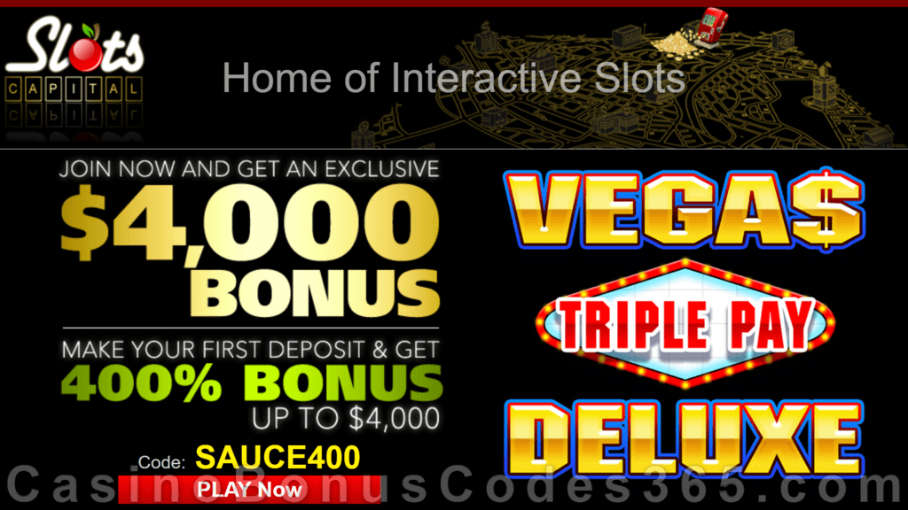 Slots Capital Online Casino 400% Match New Dragon Gaming Vegas Triple Pay Deluxe Special Bonus