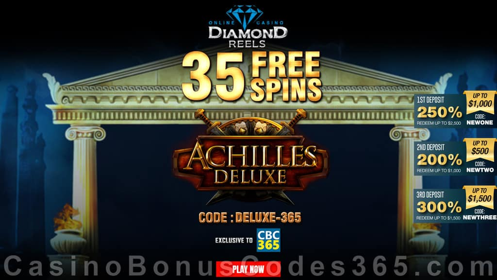 Diamond Reels Casino 35 FREE Spins on RTG Achilles Deluxe Exclusive No Deposit Welcome Deal
