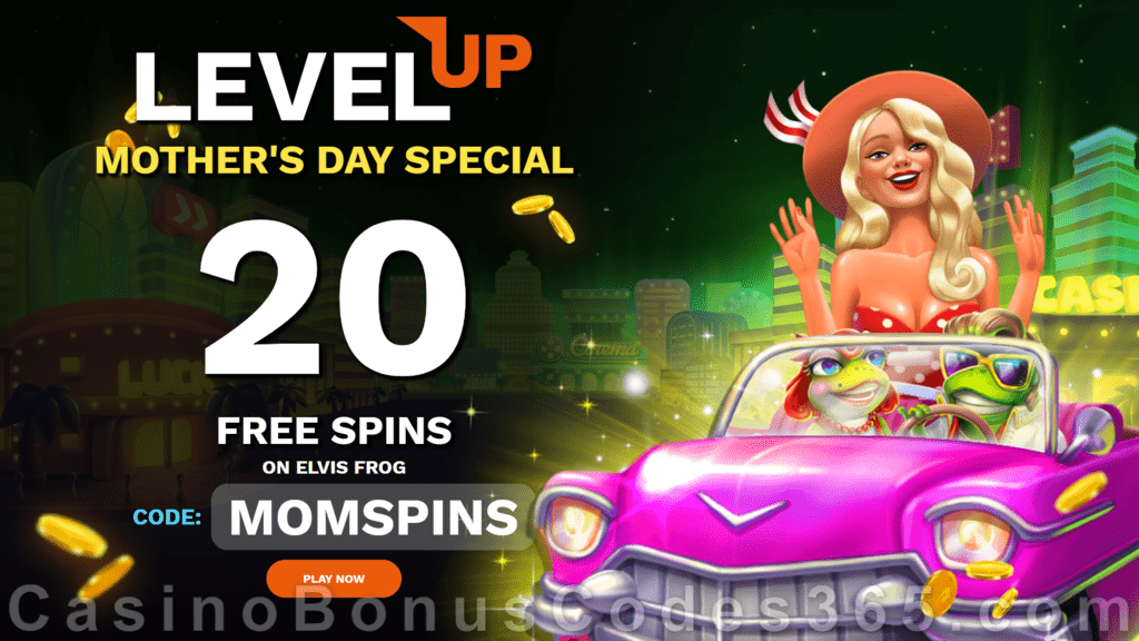 LevelUp Casino 20 FREE BGAMING Elvis Frog in Vegas Spins Mother's Day 2021 Special No Deposit Promotion