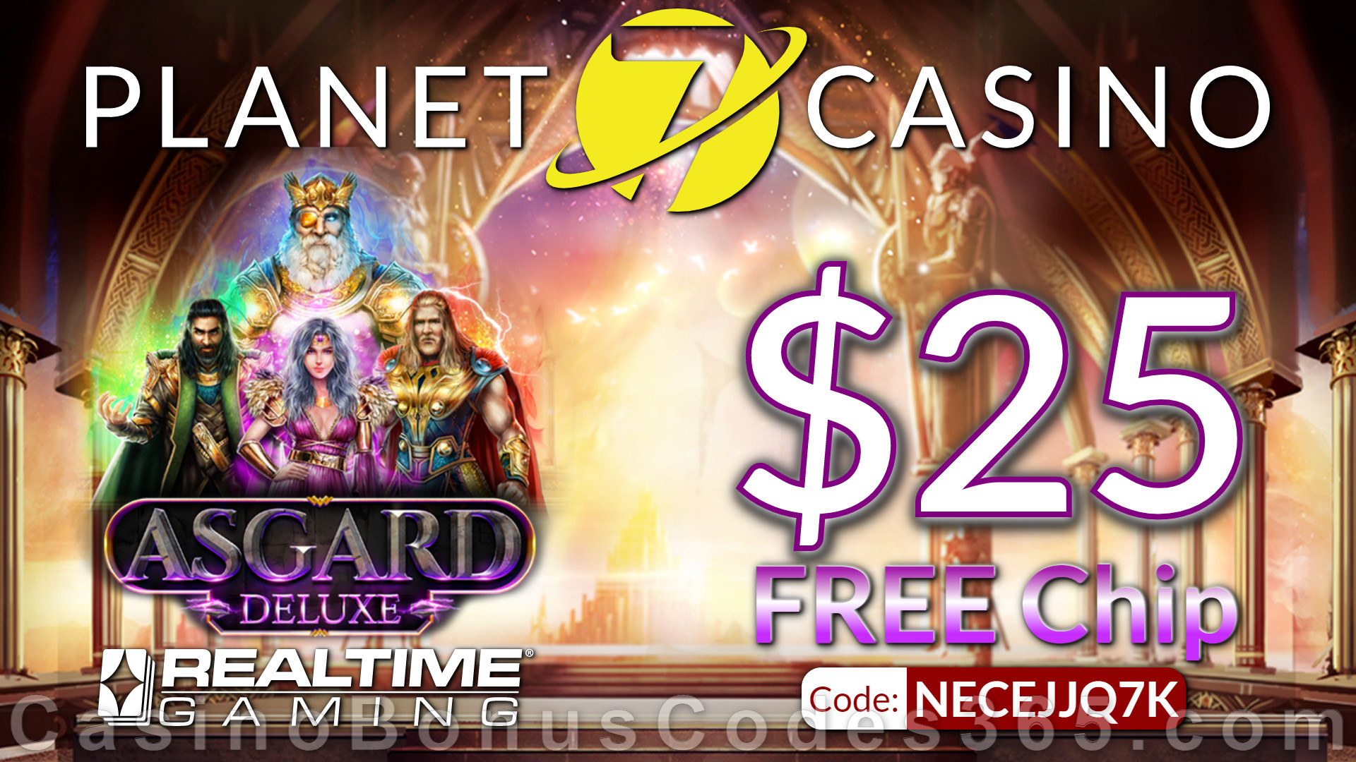 Planet 7 Casino New RTG Game Asgard Deluxe $25 No Deposit FREE Chip Special Deal