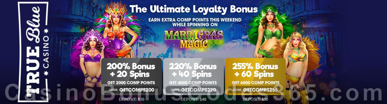 True Blue Casino Pokie Masterclass Weekend Bonuses RTG Diamond Fiesta Wild Hog Luau Plentiful Treasure Epic Holiday Party