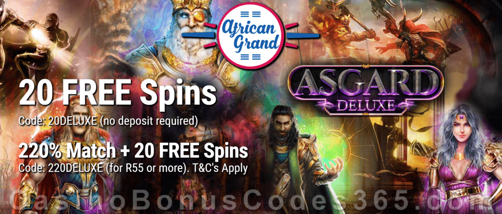 African Grand Online Casino 20 FREE Asgard Deluxe Spins and 150% Match Bonus plus 25 FREE Spins Special New RTG Game Welcome Deal