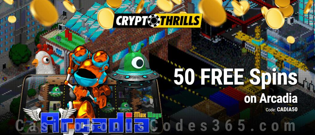 CryptoThrills Casino 50 FREE Saucify Arcadia Spins Exclusive Deposit Deal